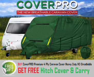 CoverPRO Premium 4 Ply Caravan Cover Heavy Duty HD Breathable + Free Hitch Cover & Carry